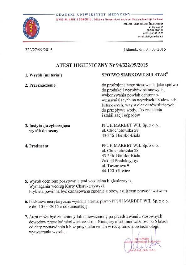 Atest Higieniczny Polimer Sulstar 94-322-99-2015-01