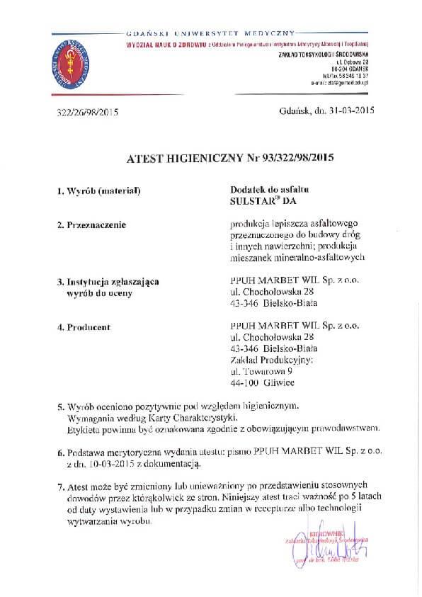 Atest Higieniczny Polimer SulstarDA 93-322-98-2015-01