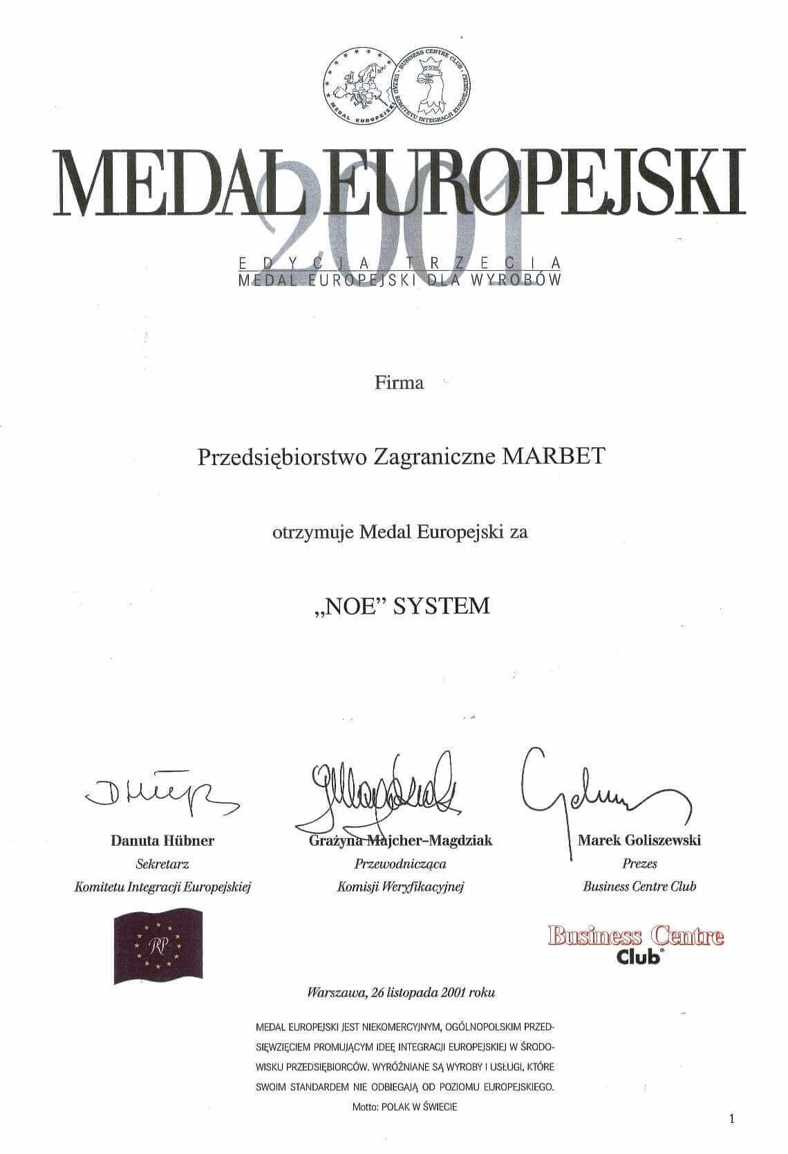 Medal Europejski 2001 - NOE - j.pol