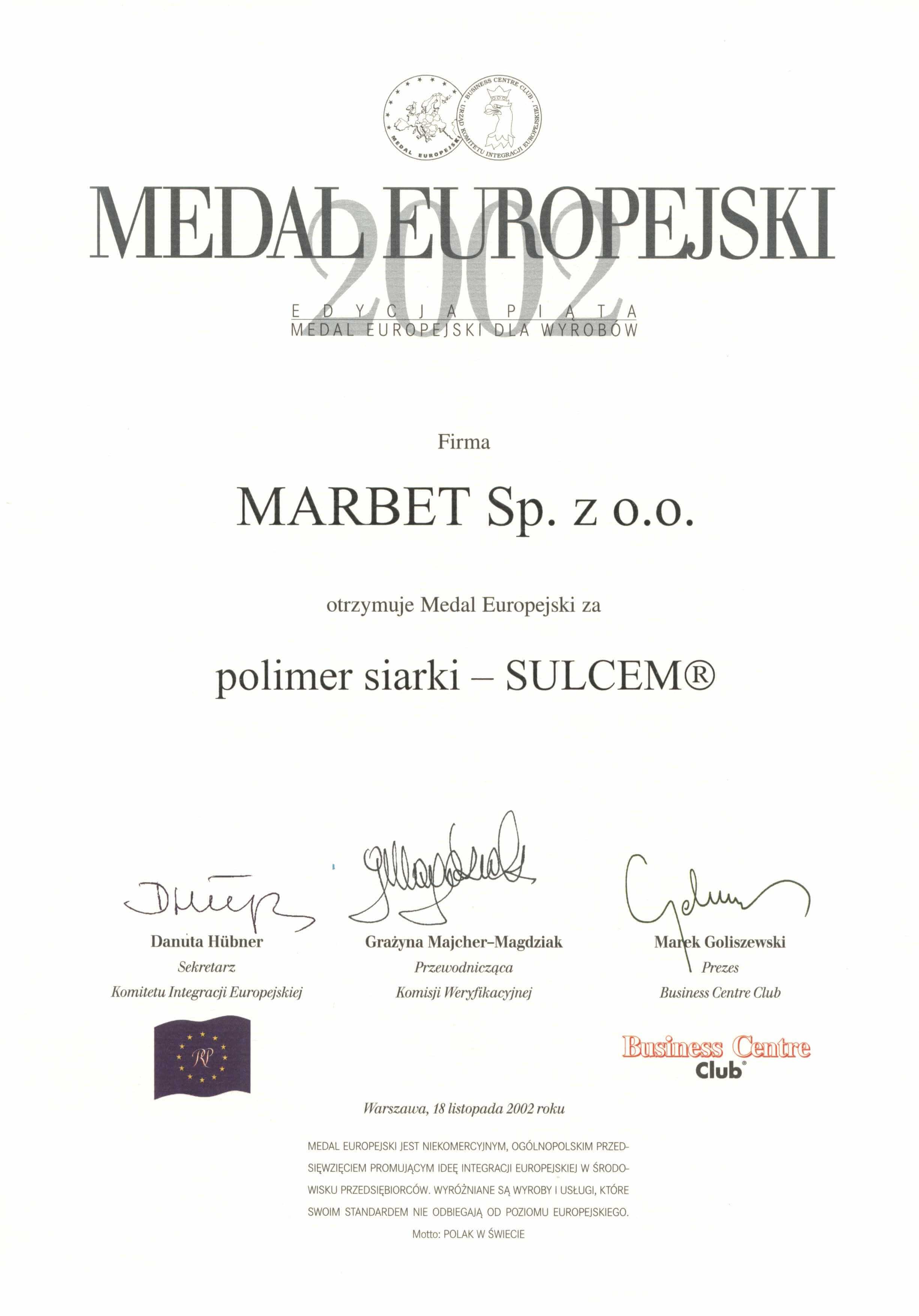 Medal Europejski 2002 - polimer siarki Sulcem - j.pol