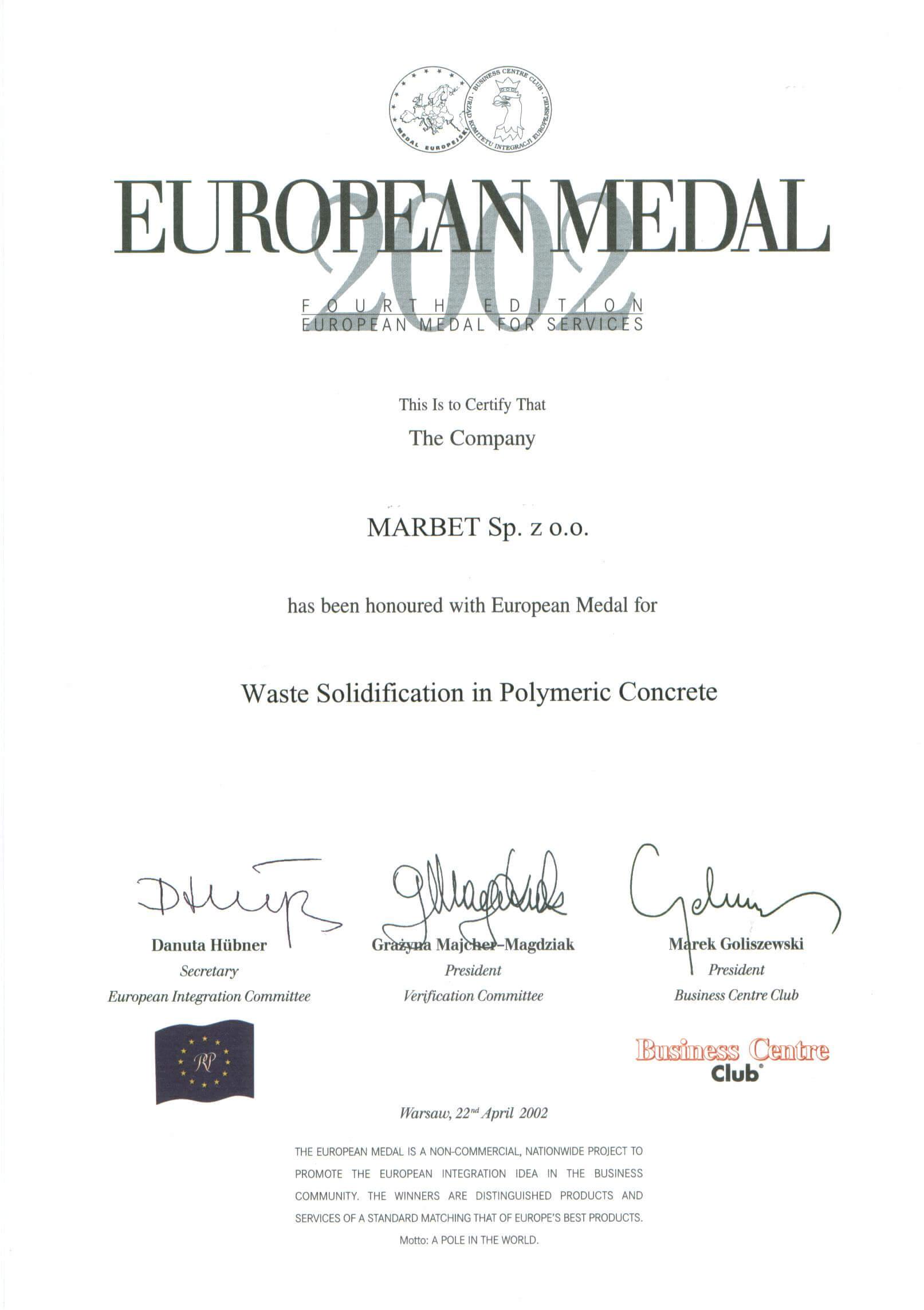 Medal Europejski 2002 - zestalenie odpadow - j. angielski