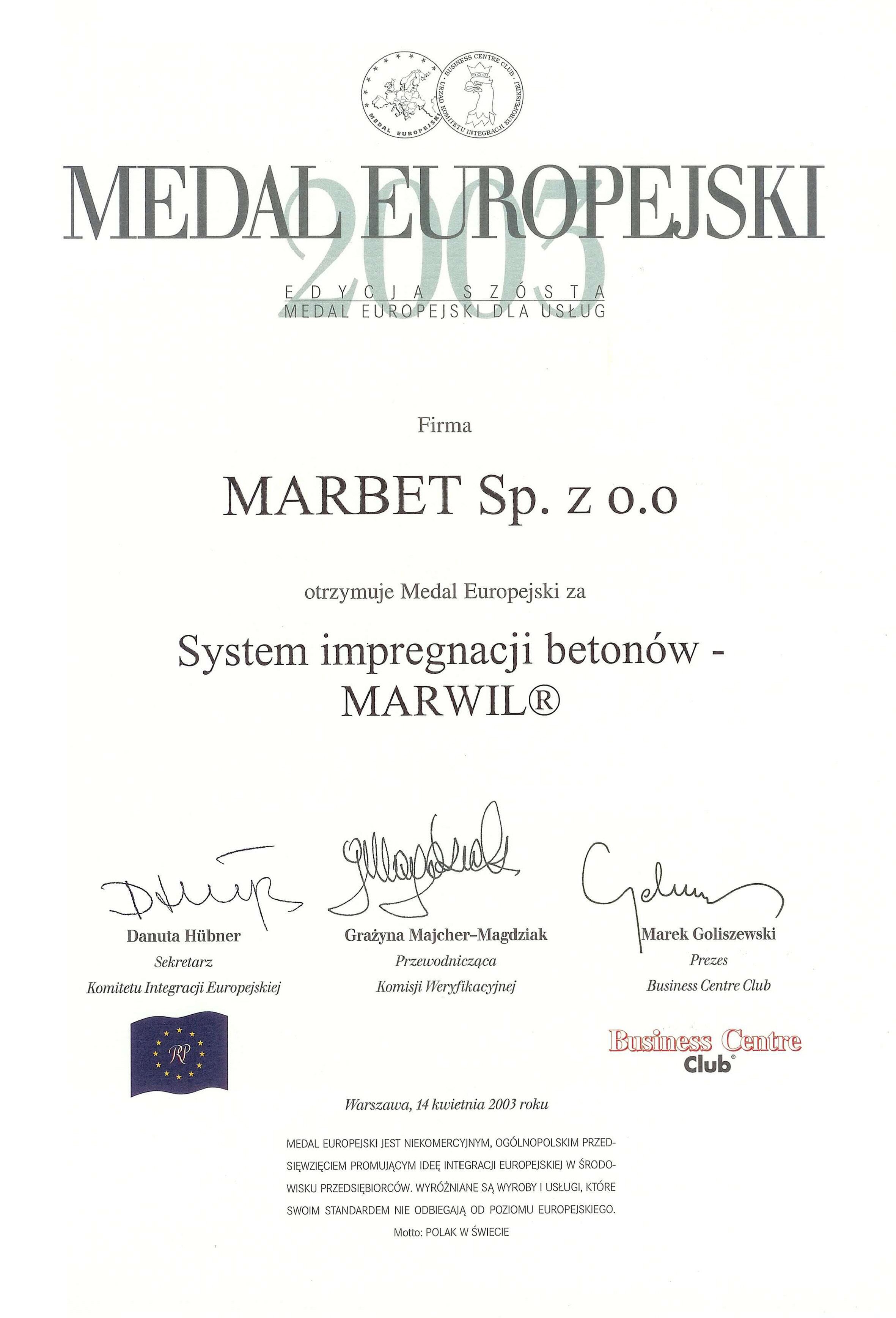 Medal Europejski 2003 - MARWIL- j
