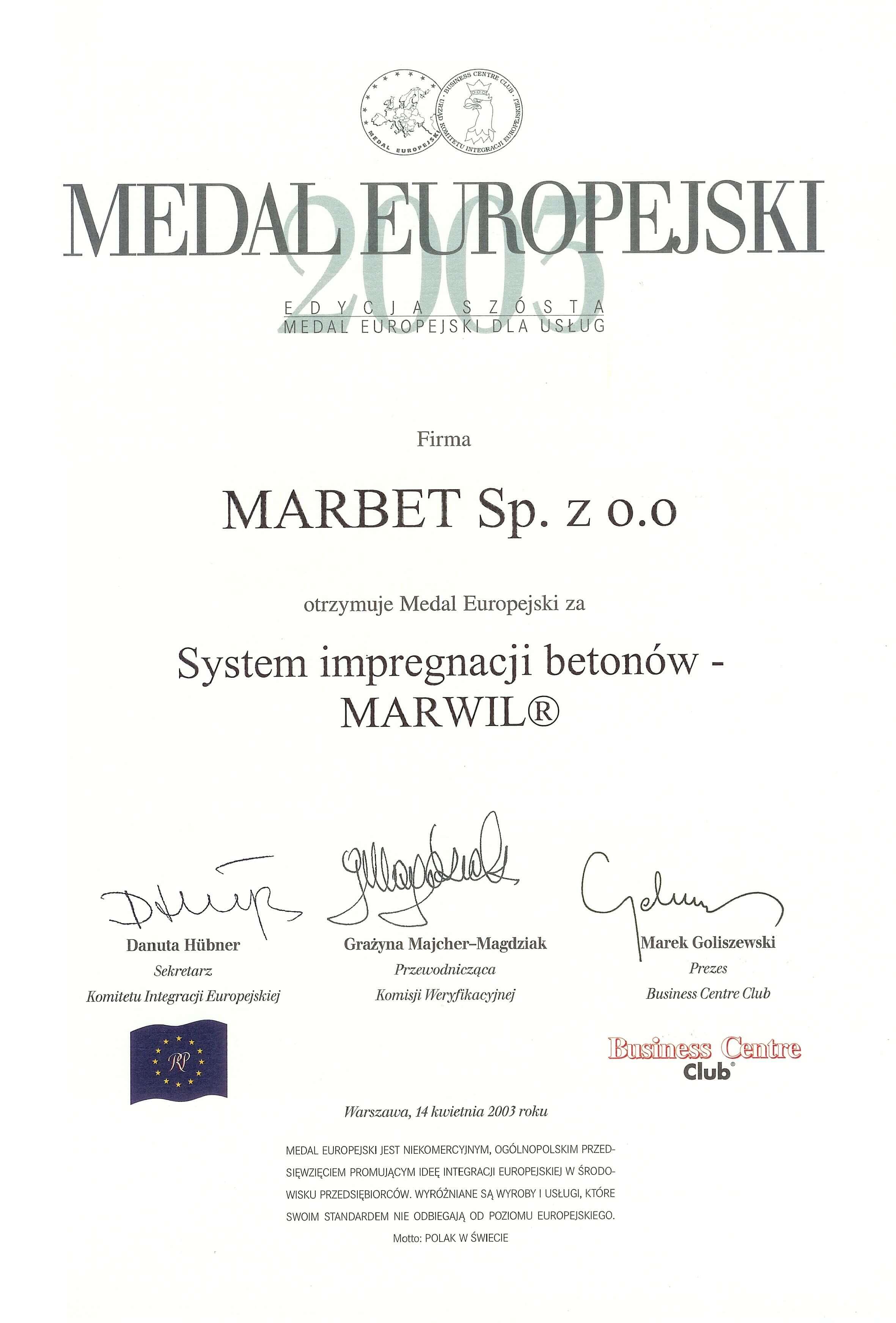 Medal Europejski 2003 - MARWIL- j.pol